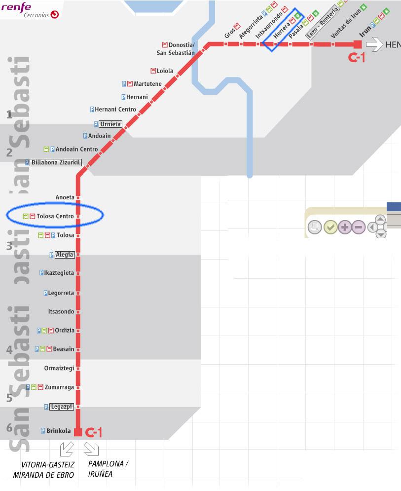 RENFE train map: Donostia to Tolosa.