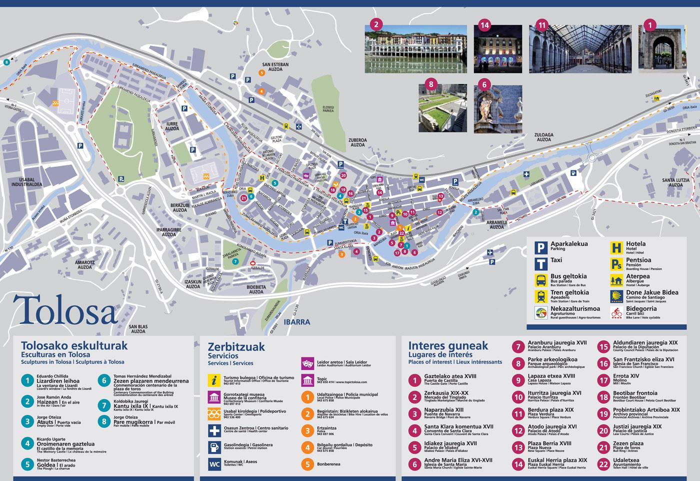 Map of Tolosa courtesy of Tolosatours.